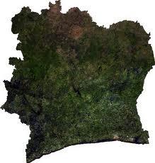 Ghanas kort i Elfenbenskysten